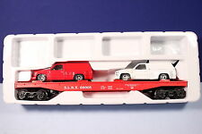 K Line O / 027 Scale Anheuser-Busch Beer Flat Car w/ Sport Trucks & Labels 69005