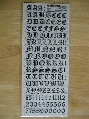 1 x Edding U//c Black Letters//Num Old English 10mm 36pt Transfer ref 5142