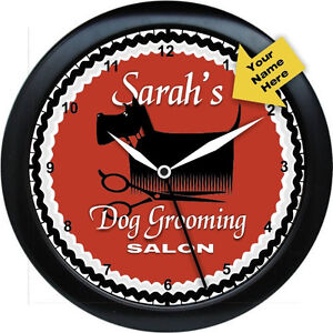 personalized dog grooming salon wall clock gift. Black Bedroom Furniture Sets. Home Design Ideas