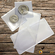 50 2x2 Double Pocket Vinyl  Flips Coin Holders - PVC FREE