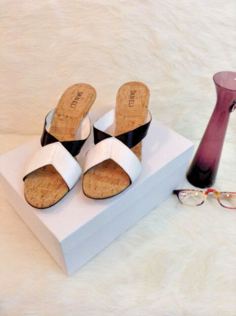 New, Van Eli Cork and Leather Strappy Sandal Pumps, Sz 8 1 2 N
