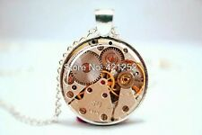 Glass Dome Cabochon Pendant Necklace STEAMPUNK Antique Gold Watch Clock Cogs #02
