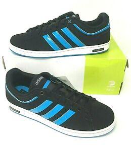 Details about Men's Adidas Neo 'Derby Set' Trainers Black Blue Stripes Lace Up Size 8 12