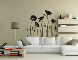 Image Is Loading Poppy Flower Wall Art Stickers Living Room
