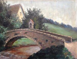 OLGEMALDE-BLUMHARD-LANDSCHAFT-MIT-BRUCKE-DORF-BACH-WALD-UM-1900-ANTIK