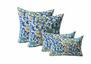 Set Of 4 Blue Bohemian Elephant In Outdoor 17 Square Lumbar Pillows Ebay