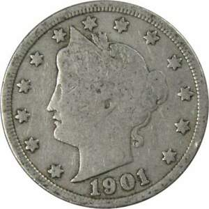 1901-Liberty-Head-V-Nickel-5-Cent-Piece-G-Good-5c-US-Coin-Collectible