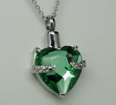 EMERALD GREEN HEART CREMATION URN NECKLACE CREMATION JEWELRY PET MEMORIAL TOO