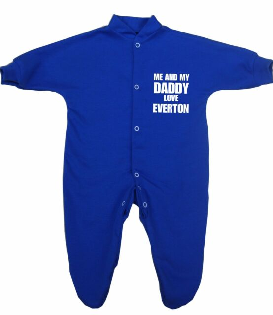 13d69534 BabyPrem Me Daddy Love Everton Baby Clothes Sleepsuit Babygrow ...
