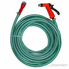 HEAVY DUTY BRAIDED HOSE WITH BRASS SPRAY GUN FOR CAR WASH & GARDENING 10 METERS