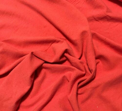 BLOOD ORANGE Hand Dyed Raw Silk NOIL Fabric