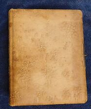 Fun Antique empty photo album *Tooled? Leather cover* Vintage Victorian Pastoral