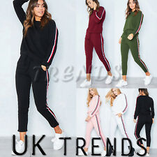 UK Womens 2 PCS Tracksuits Set Ladies Striped Active Sport Loungewear Size 6-16