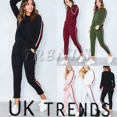 Uk Womens 2 Pcs Tracksuits Set Ladies Striped Active Sport Loungewear Size 6-16 StäRkung Von Sehnen Und Knochen