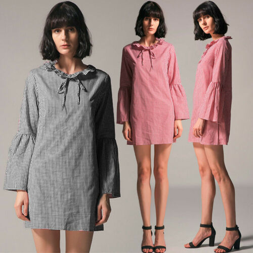 UK Women Checked Plaid Shirt Top Loose Casual Holiday Tunic Mini Dress Plus Size