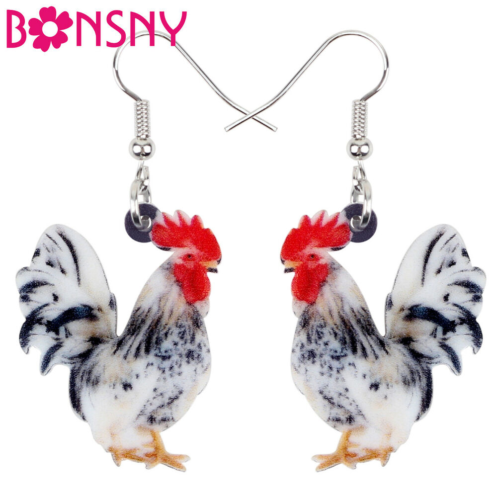 Prix ​​Bas Avec Bonsny Hen Cockrel Rooster Oiseau Boucles D'oreilles Charm Dangle Drop Animal Dangle Beau Lustre