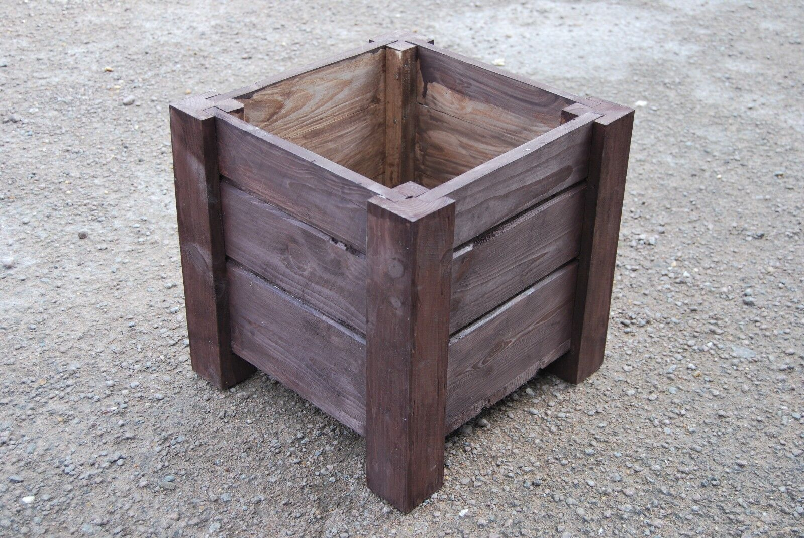 Large Square Wooden Pot 44 x 44 x 40 cm of Solid Wood Spruce in Ebony Farbe