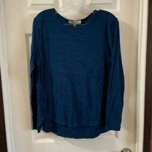 Loft Women's Blue Scoop Neck Long Sleeve Blouse size L