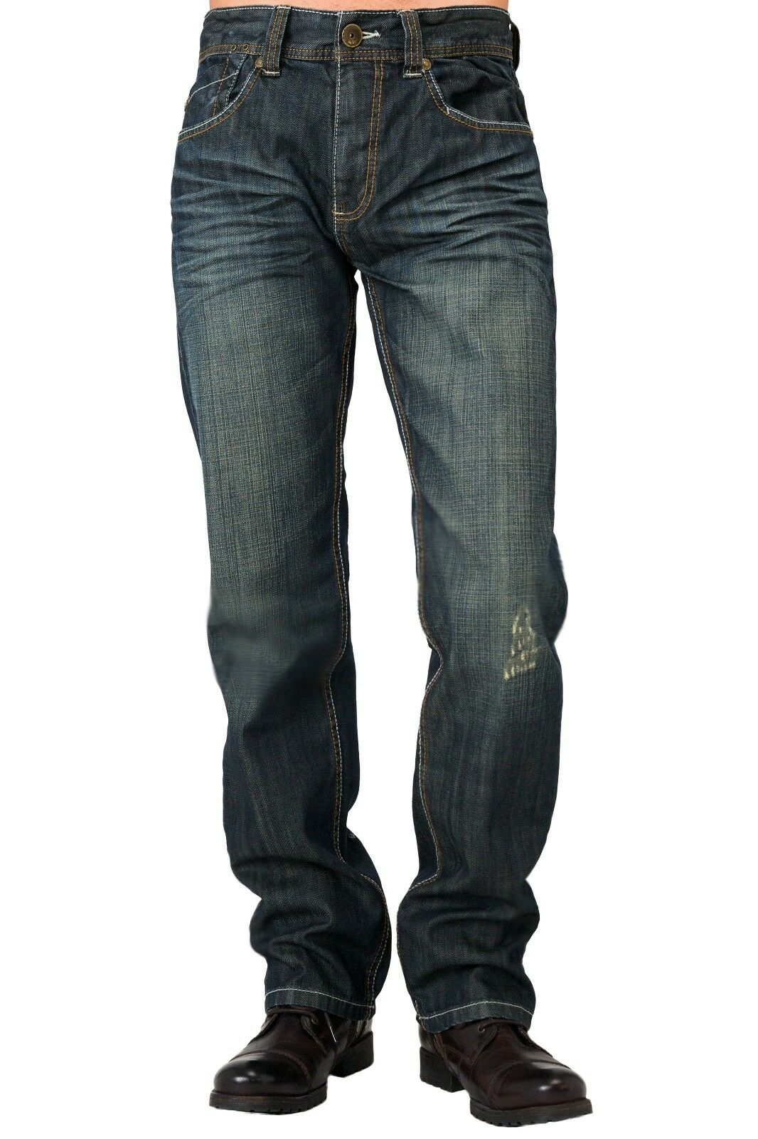 Level 7 Men's Relaxed Straight Premium Denim Jeans Distressed bluee Stone Wash