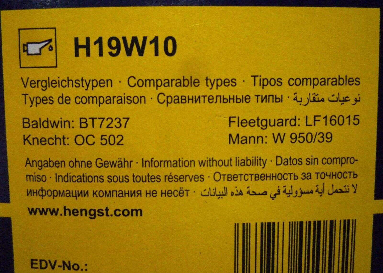 Ölfilter HENGST FILTER H19W10
