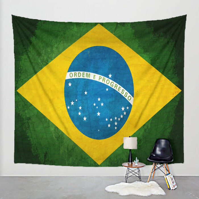 Brazilian Flag Tapestry Distressed Fabric Art Print Wall Hanging - Brazil Flag