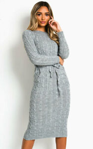 Ladies-Warm-Knitted-Cable-Pocket-Womens-Tie-Long-Sleeve-Midi-Party-Jumper-Dress
