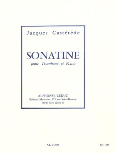 Jacques Casterede Sonatine 20th Century Trombone Learn to Play MUSIC BOOK