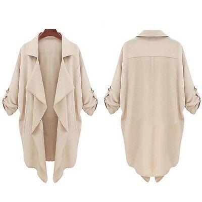 2015 Women Windbreaker Casual Long Sleeve Lapel Cardigan Top Outwear Jacket Coat