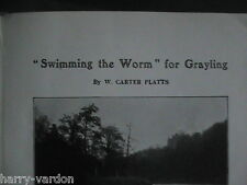 Grayling Fishing Angling Swimming the Worm Bait Rare Old Edwardian Article 1910