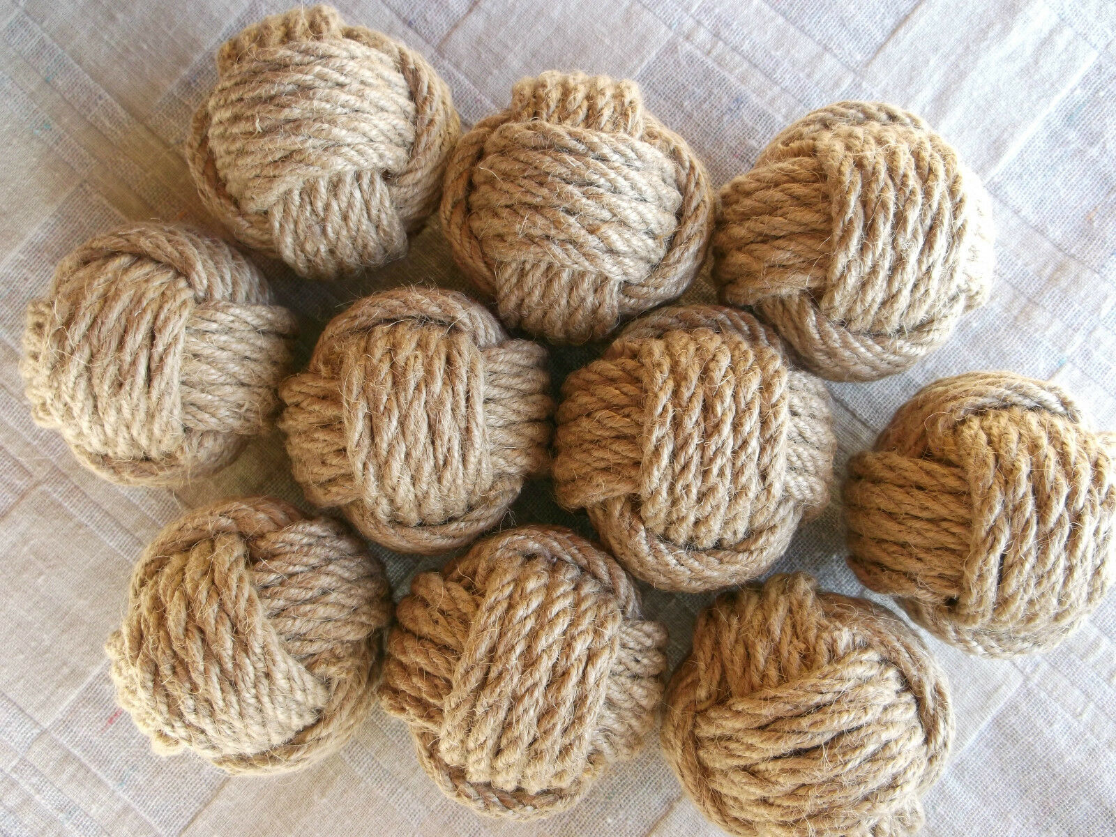 Monkey Fists.Nautical Rope Knot Wedding.Table Number Holder Knots. Rustic.