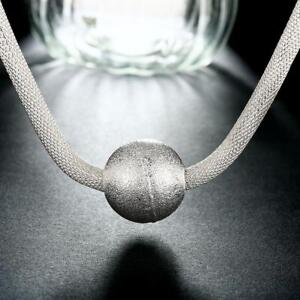 ASAMO-Damen-Halskette-mit-grosser-Kugel-Anhaenger-925-Sterling-Silber-plattiert