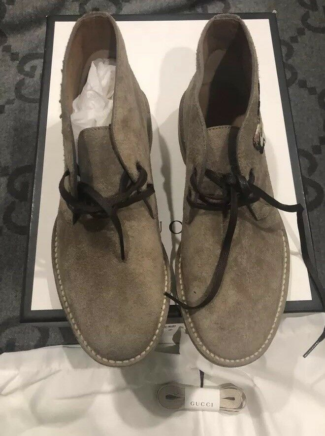 39a5850cab68 NEW IN BOX 100% AUTHENTIC GUCCI OWL SUEDE BEAR ARDESIA SNEAKERS SHOE G 7 US  8.5 | eBay