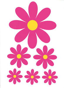 3-X-Daisy-Pretty-Flower-Sticker-Sets-Fiat-VW-Mini-Ford-500-Corsa-Clio-Smart-Car