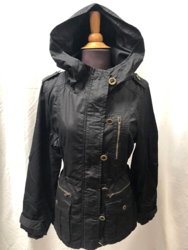 Ladies Hooded Parker Parka Jacket Coat in Black or Khaki Sizes 8 12 10 14 NEW
