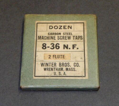CARBON STEEL MACHINE SCREW TAPS 2 FLUTE ORIGINAL BOX DOZEN WINTER BROS 8-36 N.F