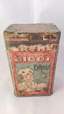 Boite  en tôle Créme BIGOT,établissement Bigot, pub papier, café. A1230