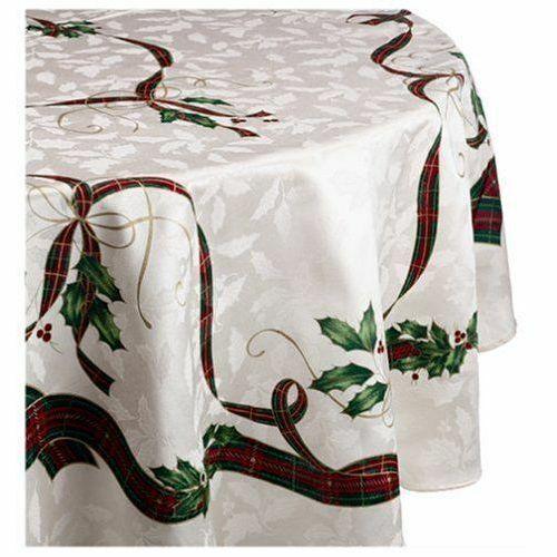Lenox Holiday Nouveau Christmas Tartan Tablecloth 70 Round For Sale Online Ebay