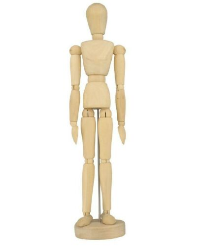 "Set of 2 Human Artist Drawing Models 12/""  Wood Figure Manikin Mannequin Body"