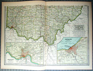 Original 1897 Map of Southern Ohio by The Century Co, | eBay