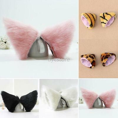 Cosplay Party's Cat Fox Long Fur Ears Anime Neko Costume Hair Clip 5 Colors  U26