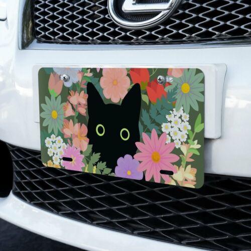 Black Cat Hiding in Spring Flowers Novelty Metal Vanity Tag License Plate