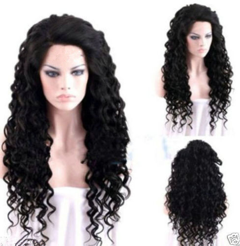 Fashion Women Long Curly Wavy New Black Heat Copslay Party Natural Full Hair Wig