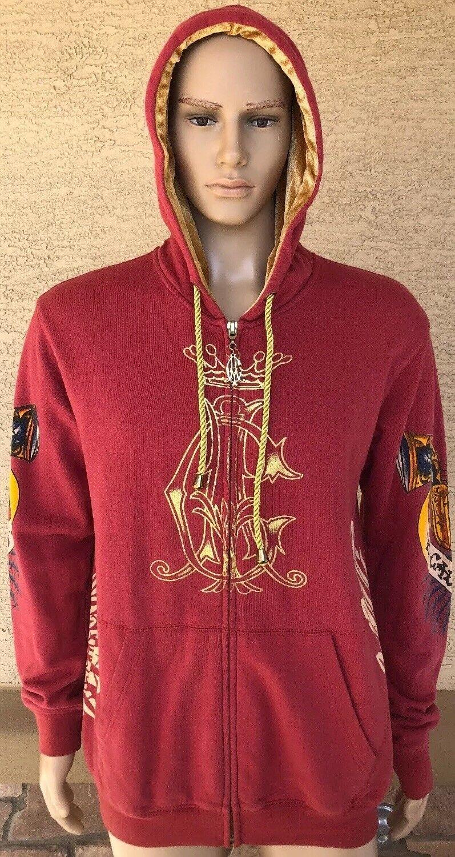Christian Audigier Los Angeles Hoodie Sweatshirt Größe Large El Calor Heat Skull