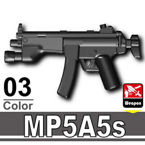 MP5A5S (W154) Black Sub Machine Gun compatible w/toy brick minifigures Army SWAT