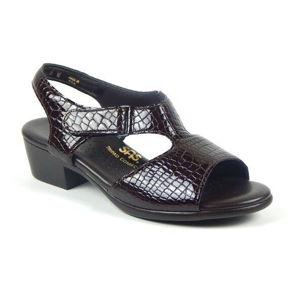 Wouomo sz 10 N narrow AA  SAS Suntimer Marroneee Croc Patent  Leather Sandals scarpe