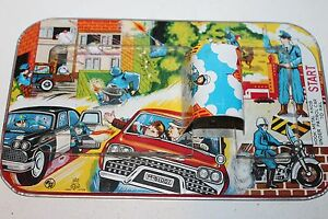 Vintage-1960-039-S-TPS-MECHANICAL-WIND-UP-TIN-POLICE-CAR-TIN-MAZE-TRACK-ONLY