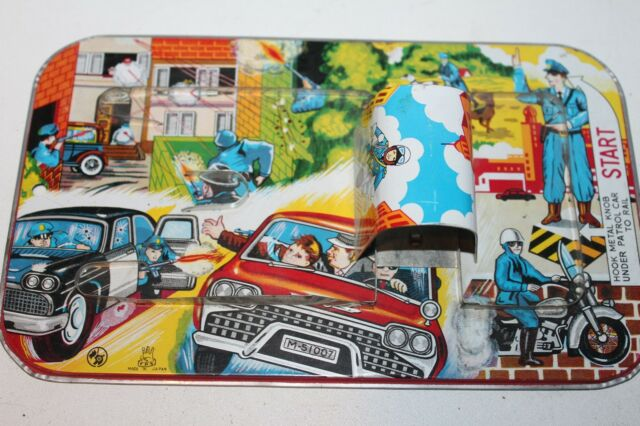 Vintage 1960'S TPS MECHANICAL WIND UP  TIN POLICE CAR TIN MAZE TRACK (ONLY)