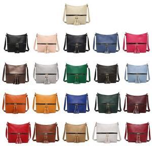 Tassel-Women-Messenger-Solid-Color-Handbags-Shoulder-Leather-Crossbody-Satchel