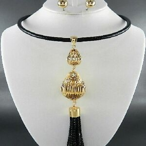 Jewelry Sets Elegant Chunky Gold & Black Metal Chain Tassel Drop Bib Statement Necklace Set Wide Varieties