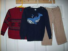 Gap Kids boys size 3T Whale sweater & Red Snow Flake & Corduroy pants 3T